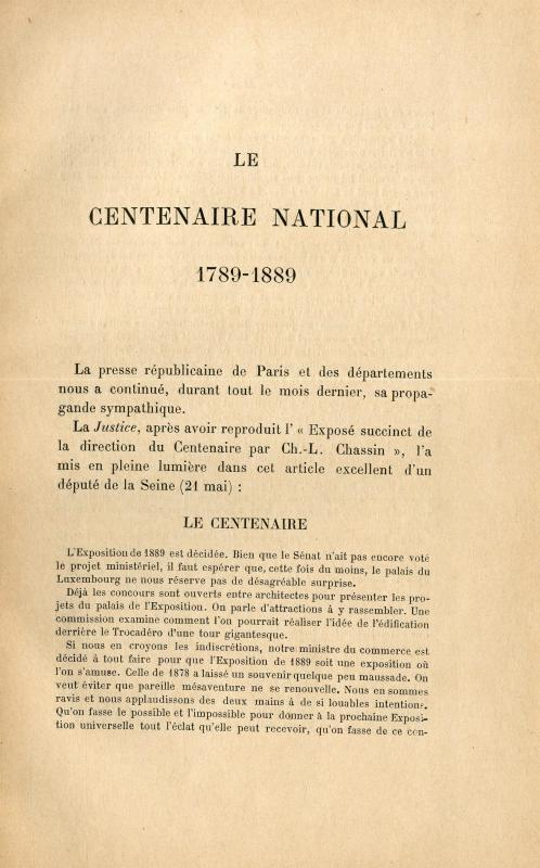 Le Centaire nationale : 1789-1889